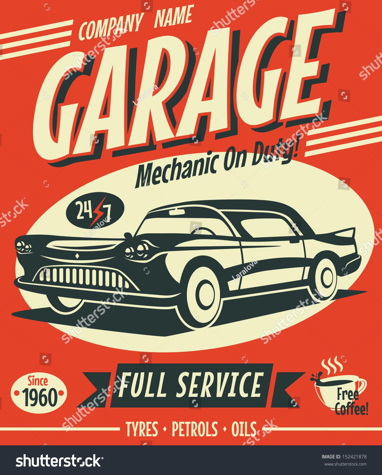 Car Stock Photos: Retro Car Service Sign Vector Illustration Stock Vector