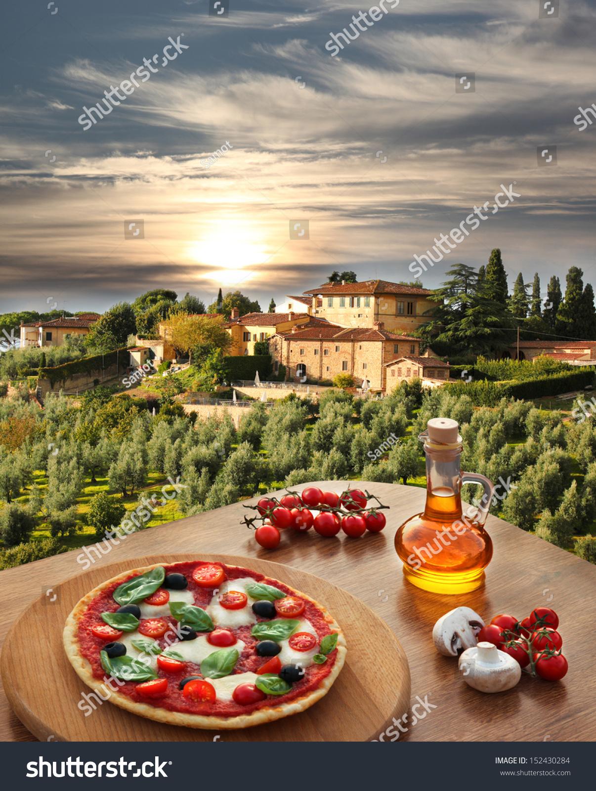 Italian Pizza Chianti Against Olive Trees Nature Parks