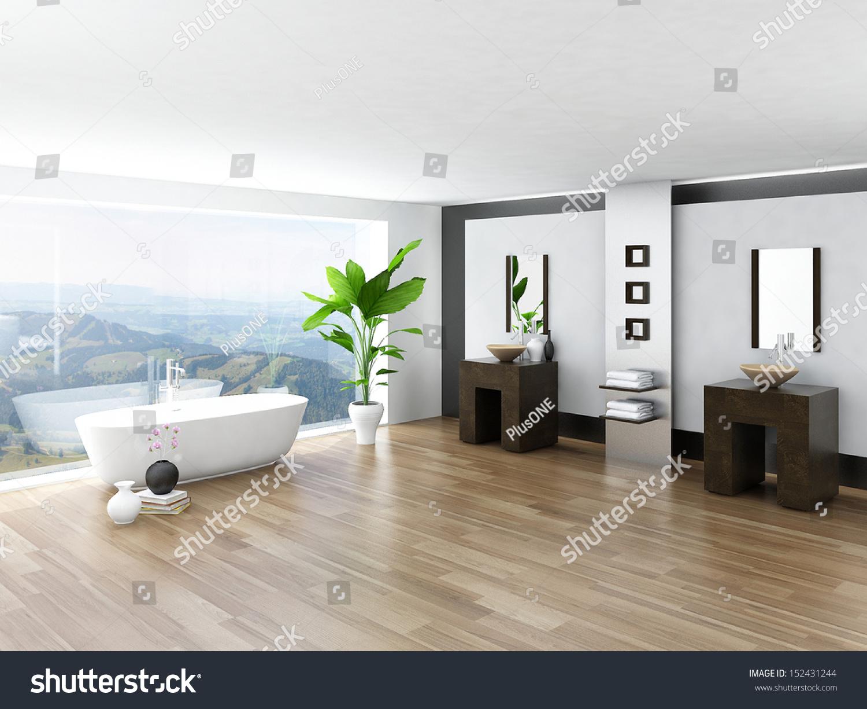 Modern Bathroom Interior White Bathtub Against Stock Photo (Royalty ...