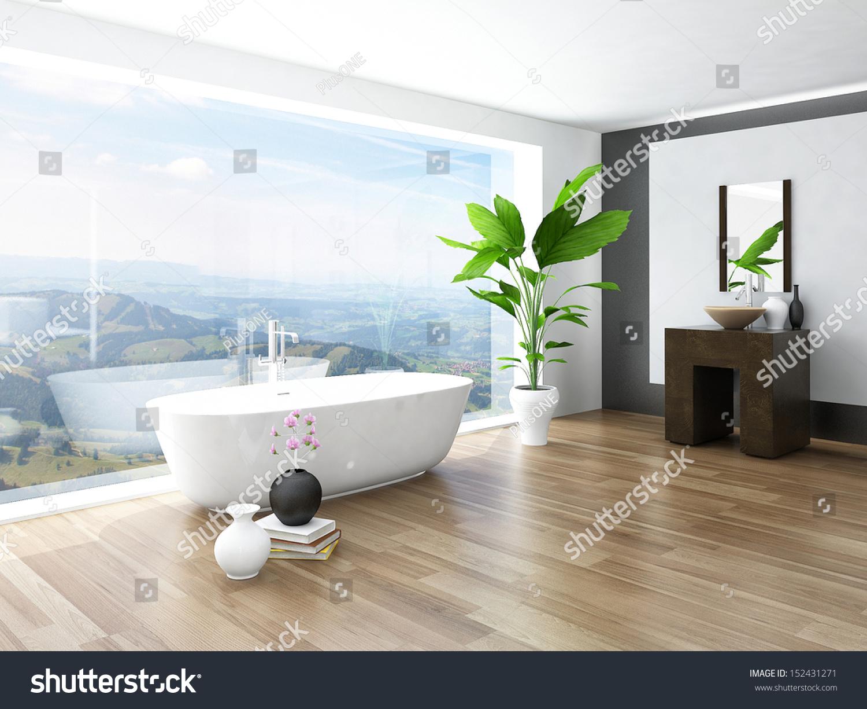 Modern Bathroom Interior With White Bathtub Against Huge