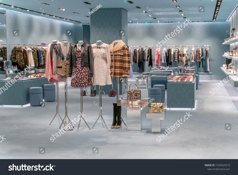 Modern Fashion Store Interior Luxury Decoration Business Finance Stock Image 1524525572