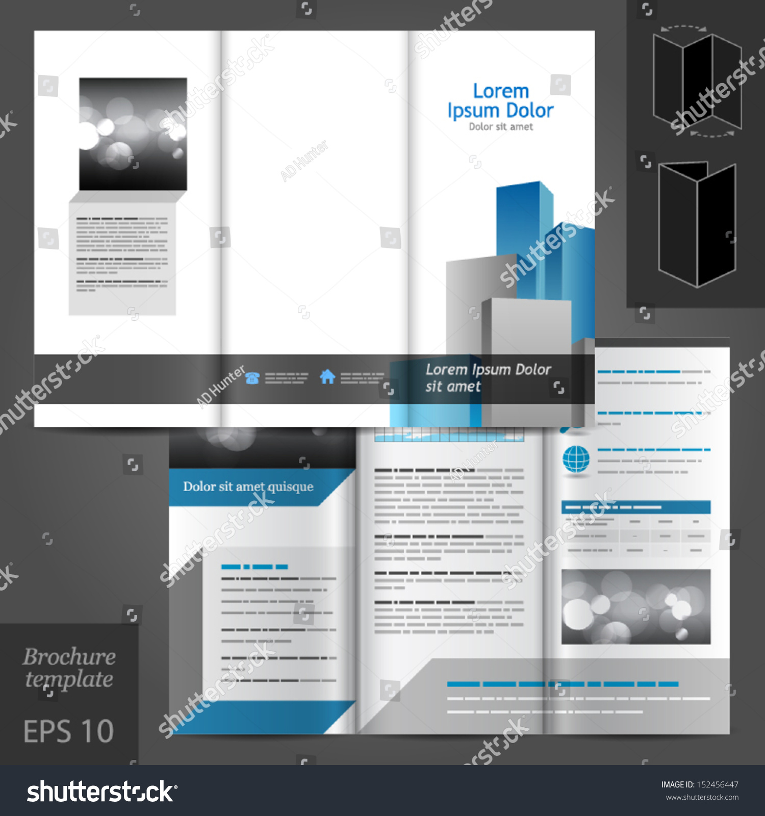Vector Architectural Brochure Template Design Blue Stock Vector ...