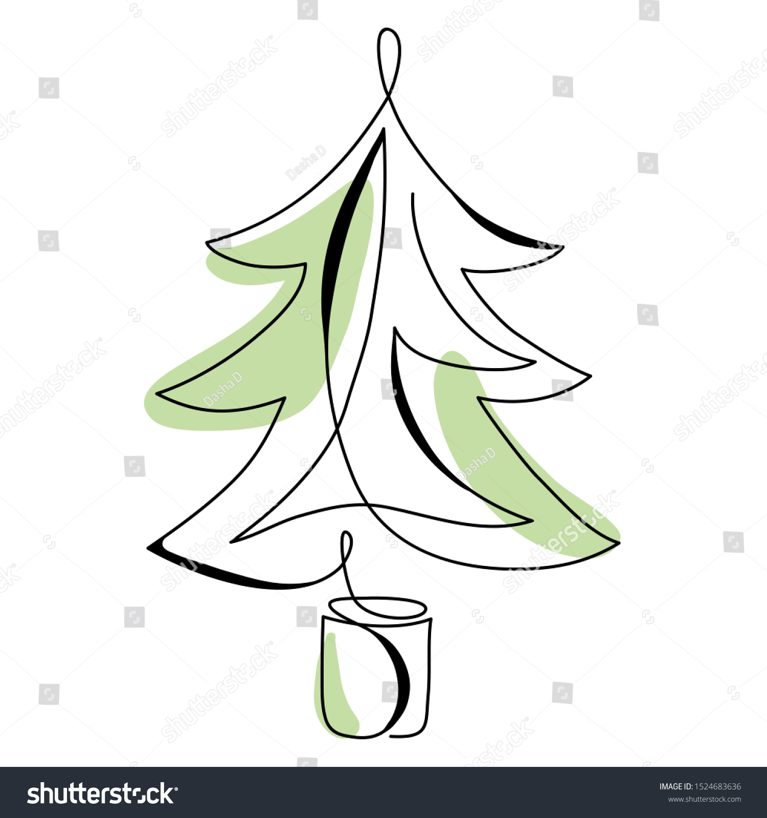 Continuous Line Drawing Abstract Christmas Tree Stock Vector Royalty Free 1524683636