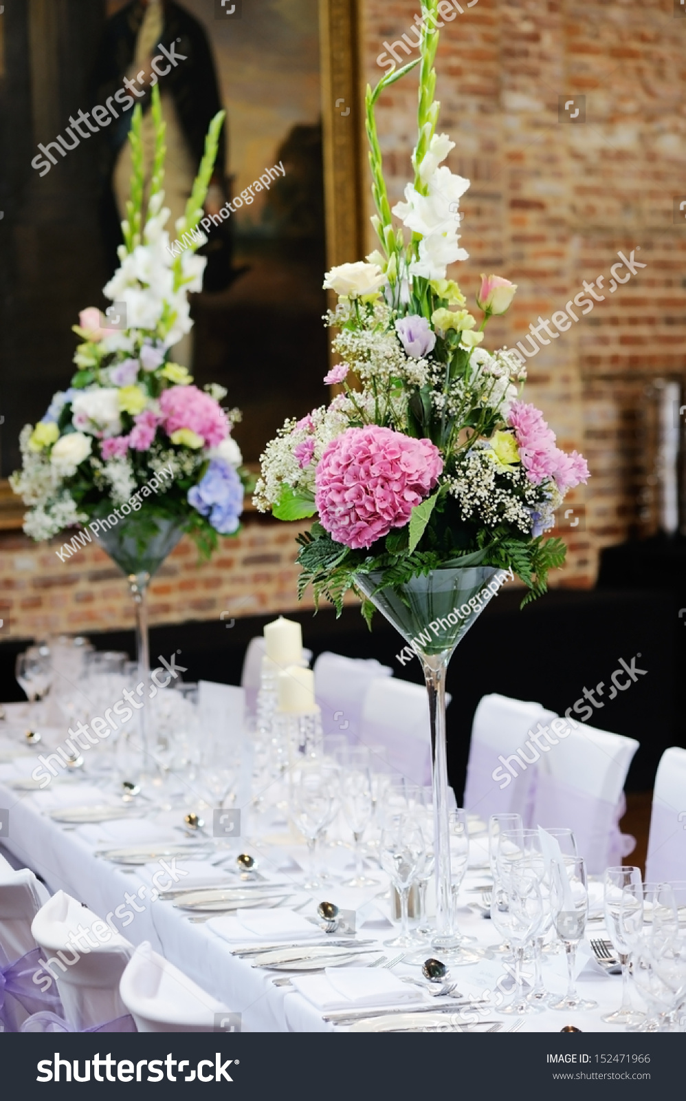 Floral Arrangement Wedding Reception Pink Purple Stock Photo Edit