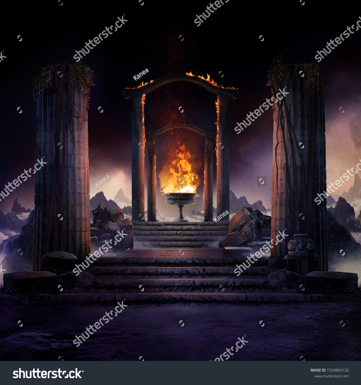 The eternal fire, dark atmospheric landscape with stairs to ancient columns and font of fire, fantasy background #1524803126