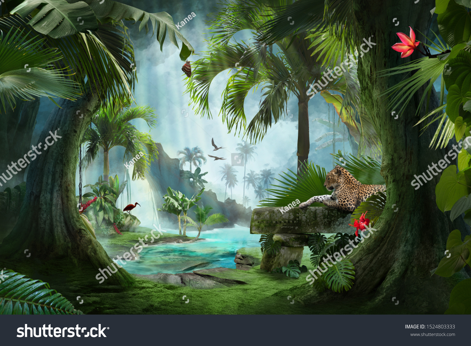 beautiful jungle beach lagoon view with a jaguar, palm trees and tropical leaves, can be used as background #1524803333