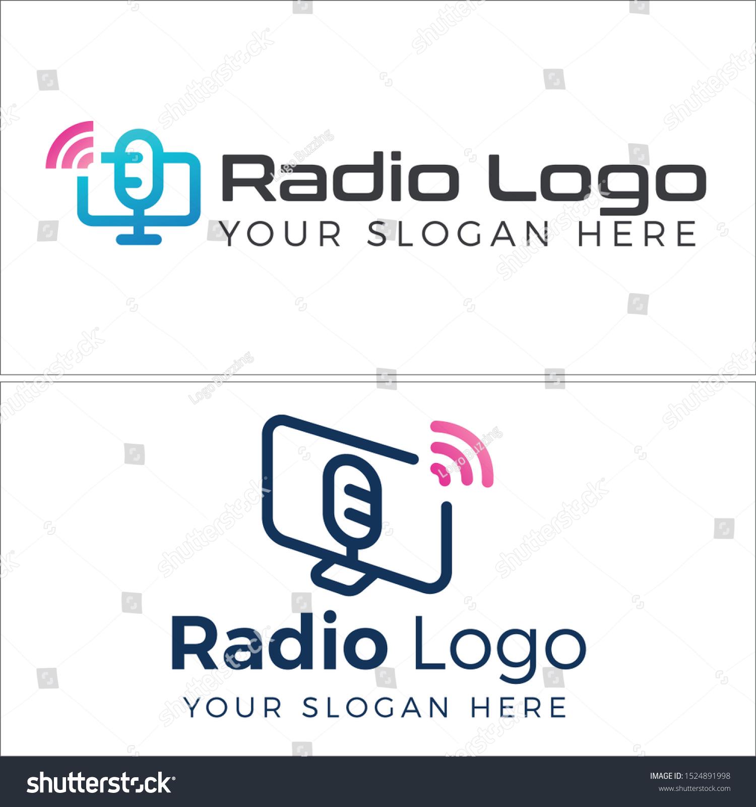 Radio Logo Microphone Monitor Blue Signal Stock Vector Royalty Free 1524891998