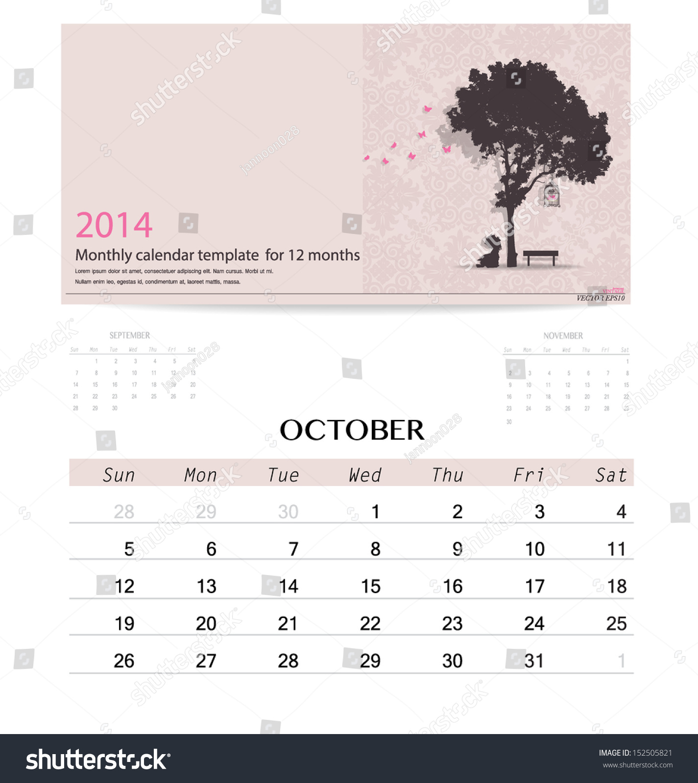 Calendar Month Illustration : Calendar monthly template for october