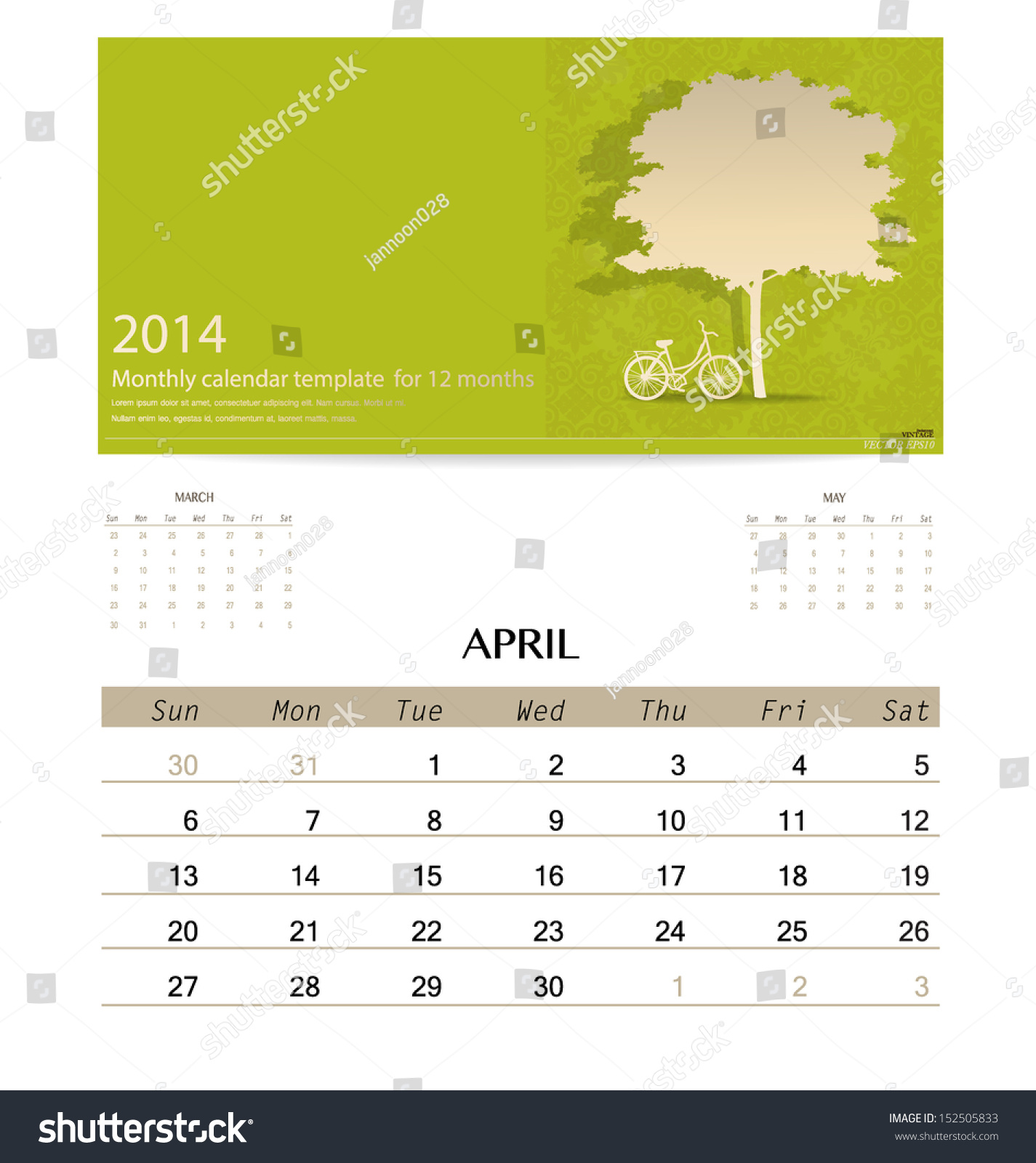 Calendar April Vector : Calendar monthly template for april vector