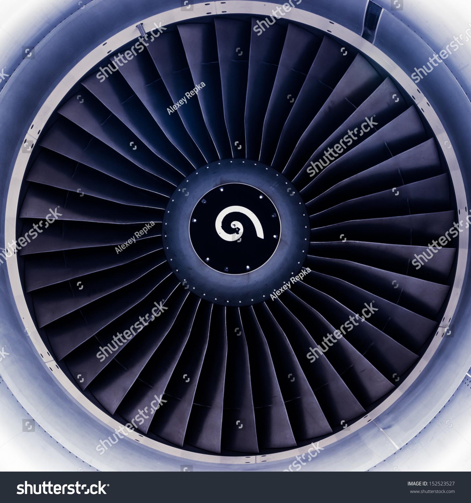 Airplane Jet Engine Turbine Blades Toned Stock