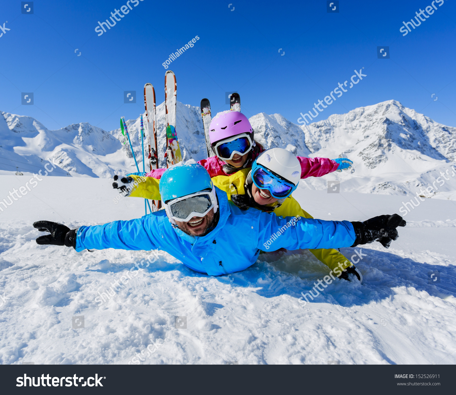 Skiing winter snow skiers sun fun stock photo 152526911 for Best family winter vacations