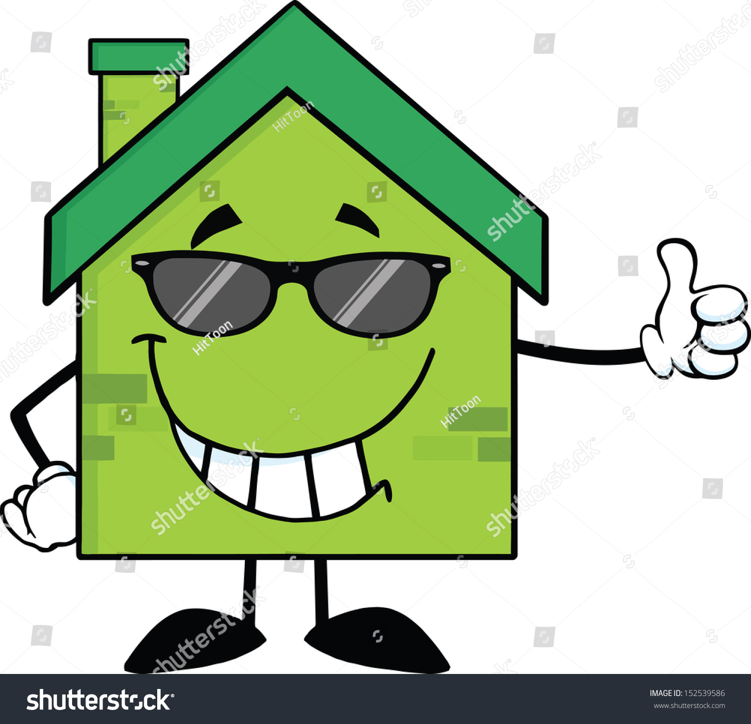 Cartoon Characters Houses : Green eco house cartoon character sunglasses stock vector