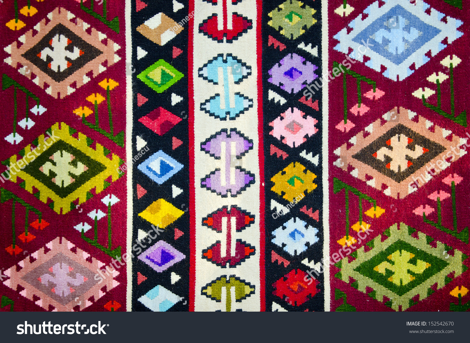 Old Traditional Romanian Wool Carpet With Ancient Motifs Stock Photo 152542670 Shutterstock