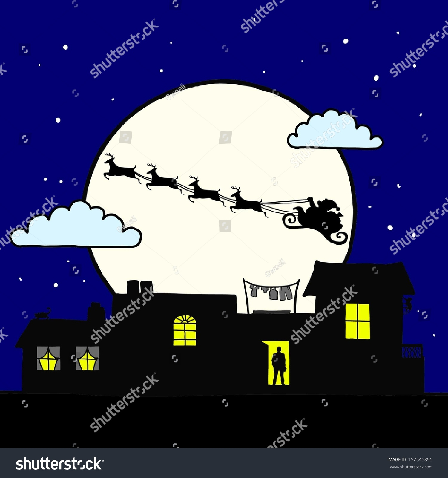 cartoon santa claus flying reindeer sleigh stock vector 152545895