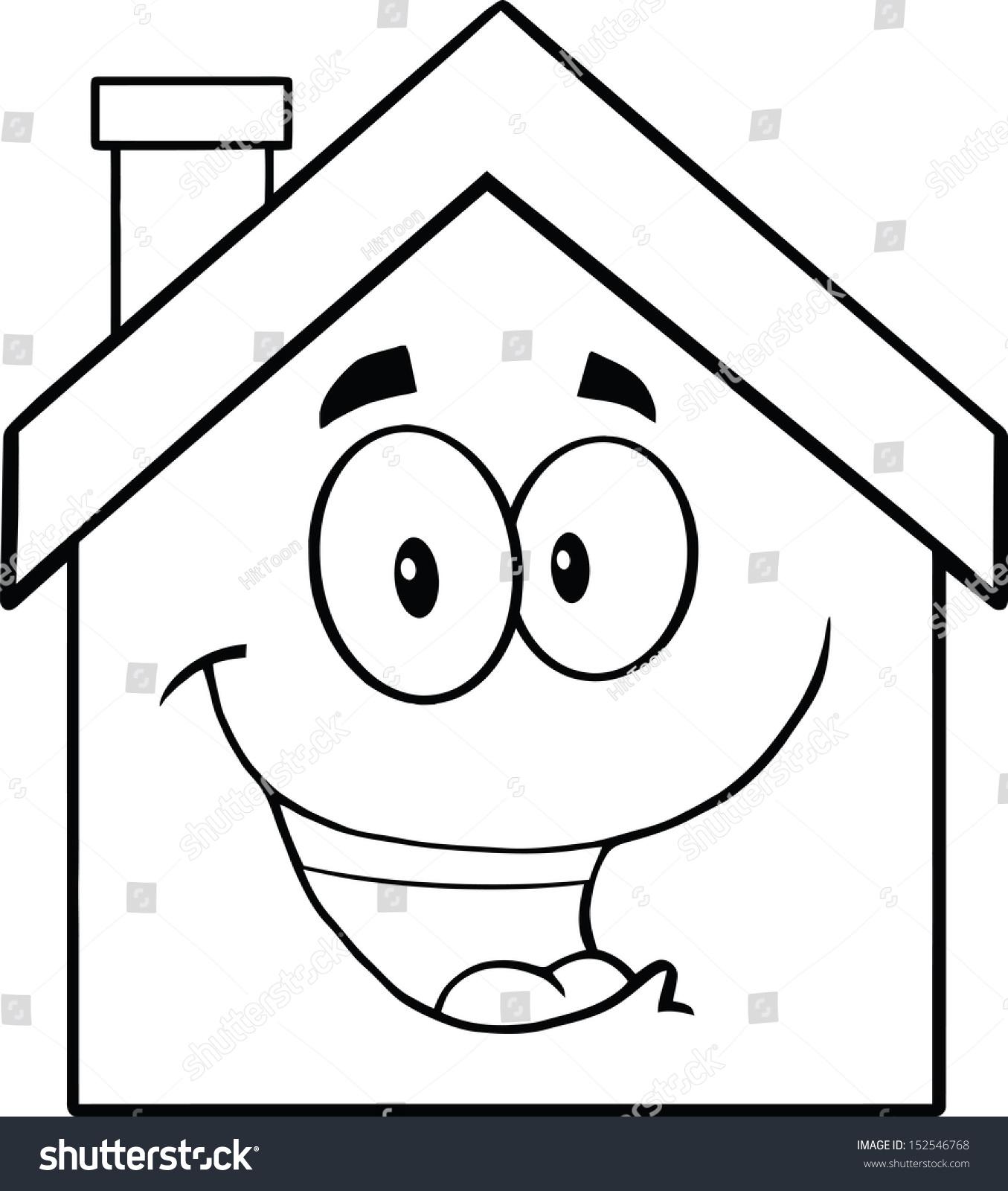 Back White Happy House Cartoon Mascot Stock Vector Royalty Free