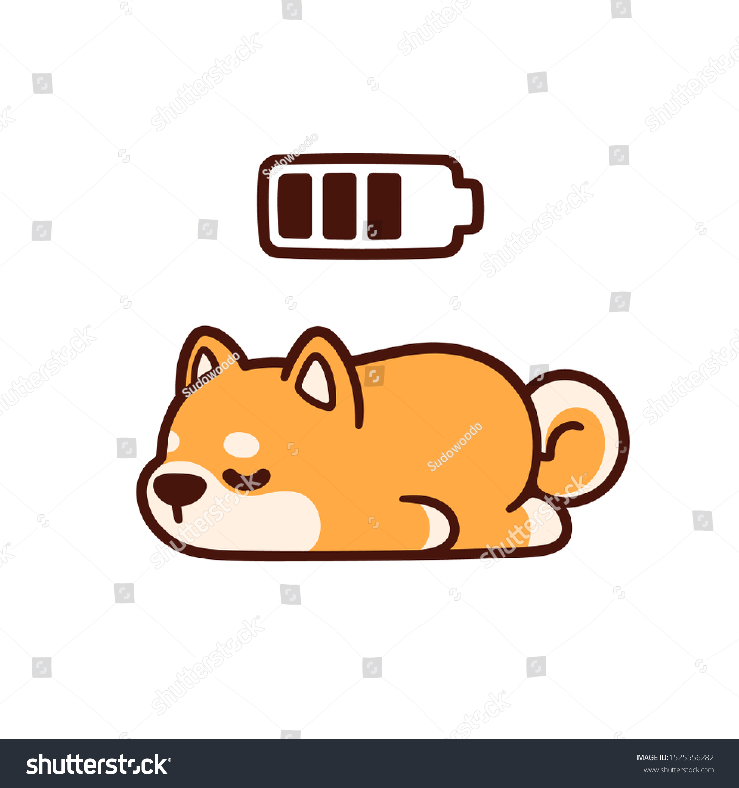 Cute Cartoon Shiba Inu Puppy Taking Stock Vector Royalty Free 1525556282