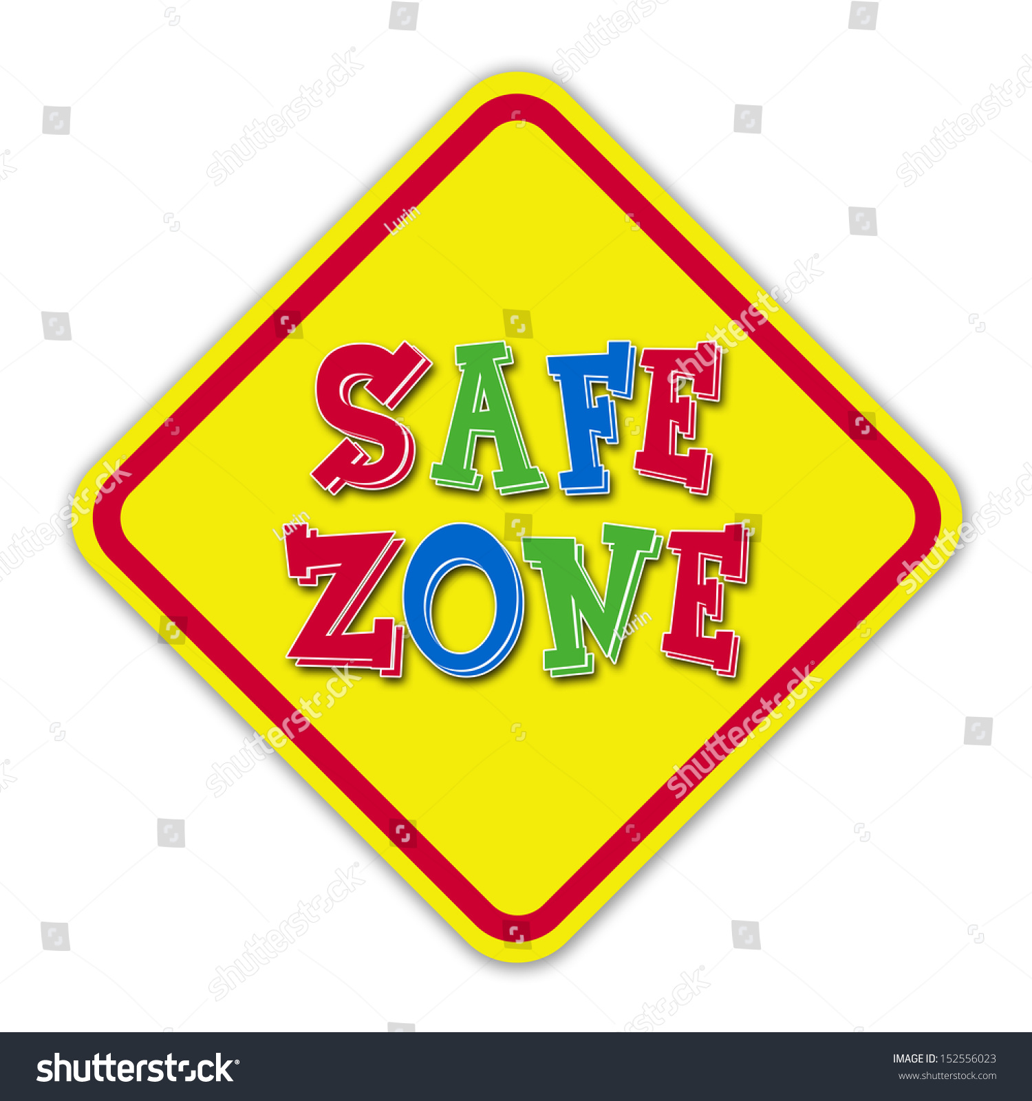 Yellow Safe Zone Road Sign Stock Illustration 152556023 Shutterstock