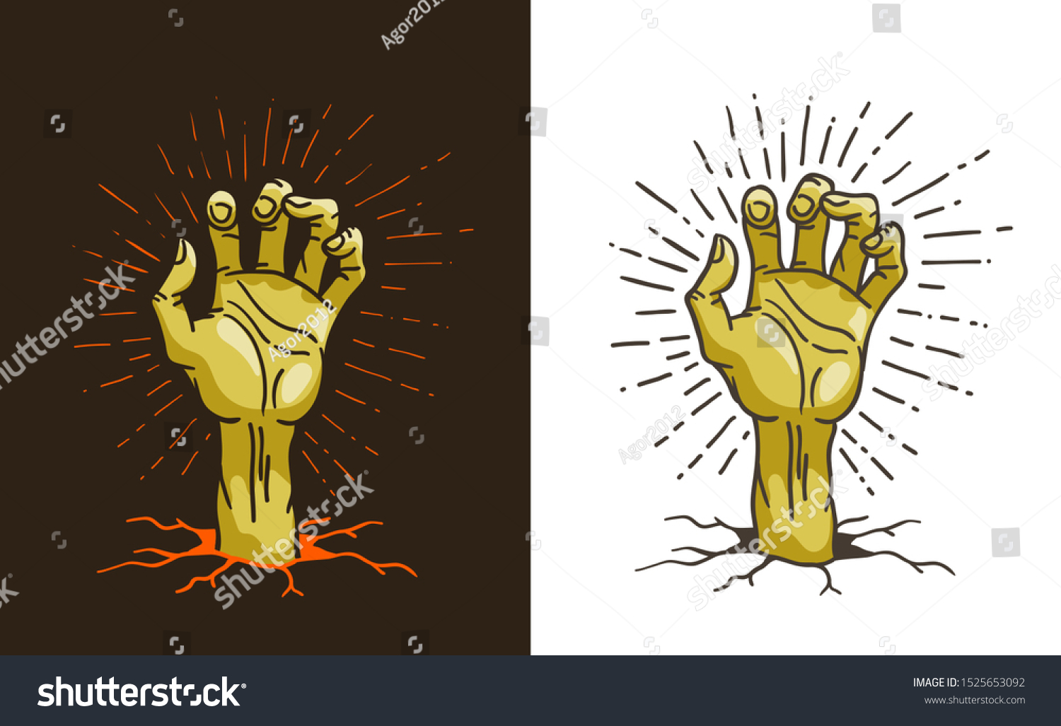 Dead Hand Sticking Out Ground Cartoon Stock Vector Royalty Free 1525653092
