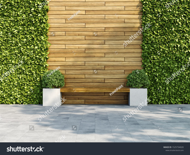 Heavy Duty Counter Stools, Decorative Wooden Wall Vertical Green Garden Stock Illustration 1525734020
