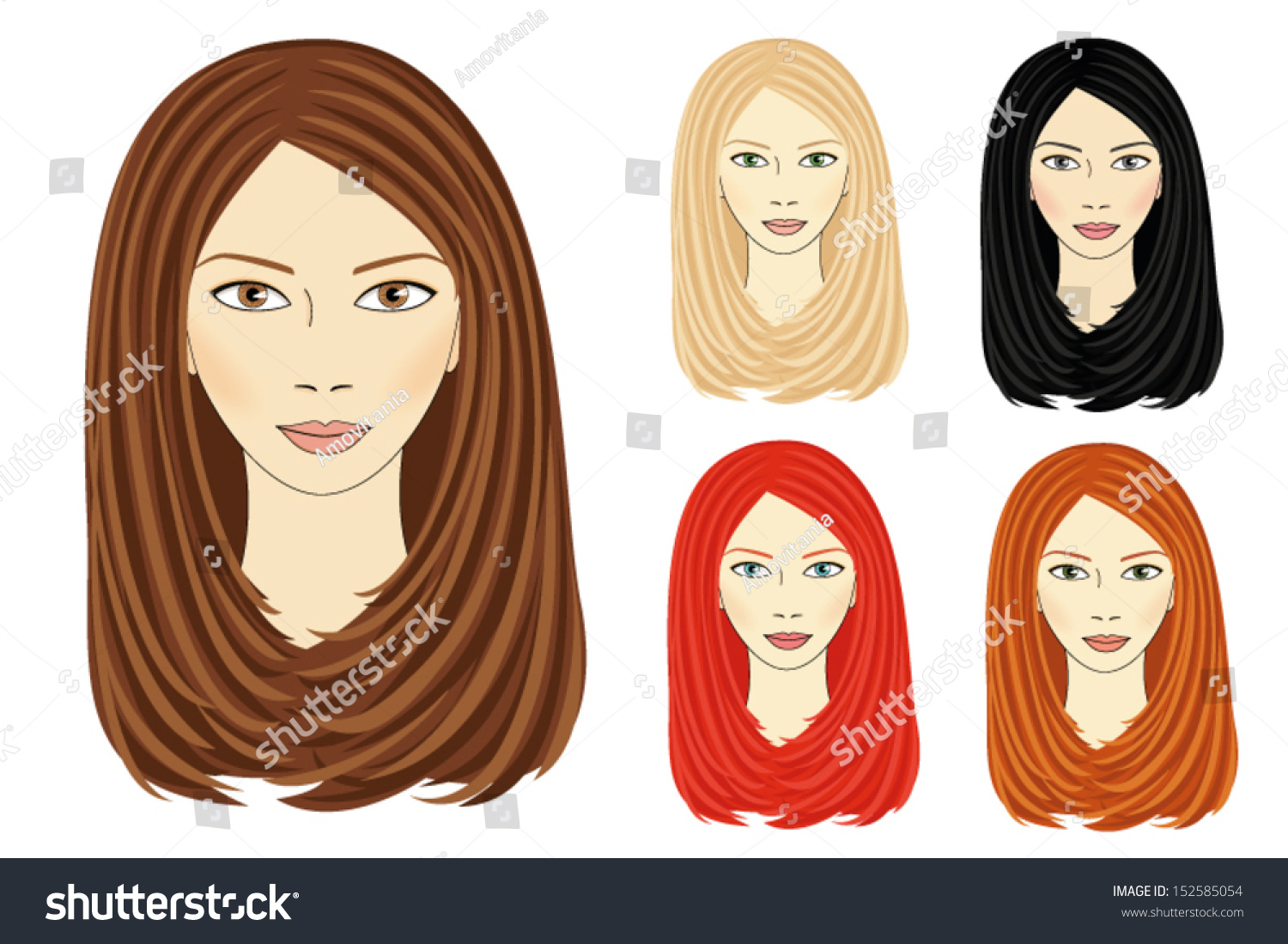 Set Images Same Girl Based On Stock Vector Royalty Free 152585054