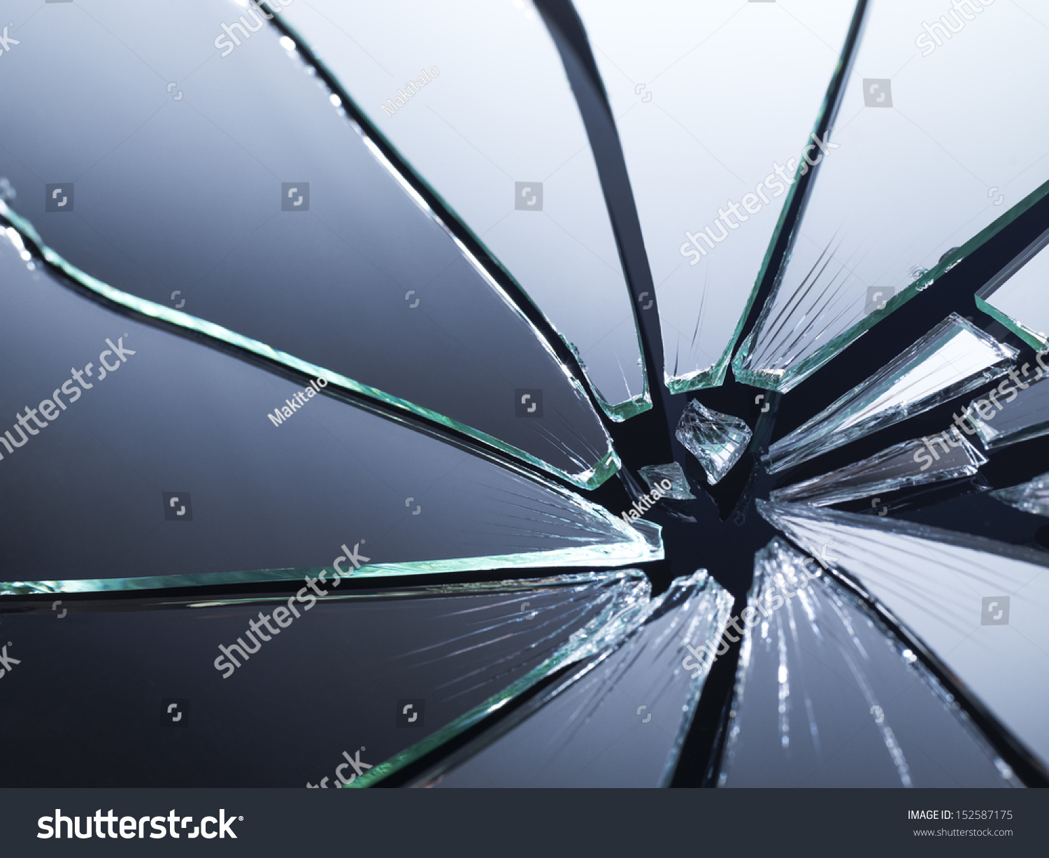 Broken Mirror Shattered Many Pieces Stock Photo 152587175