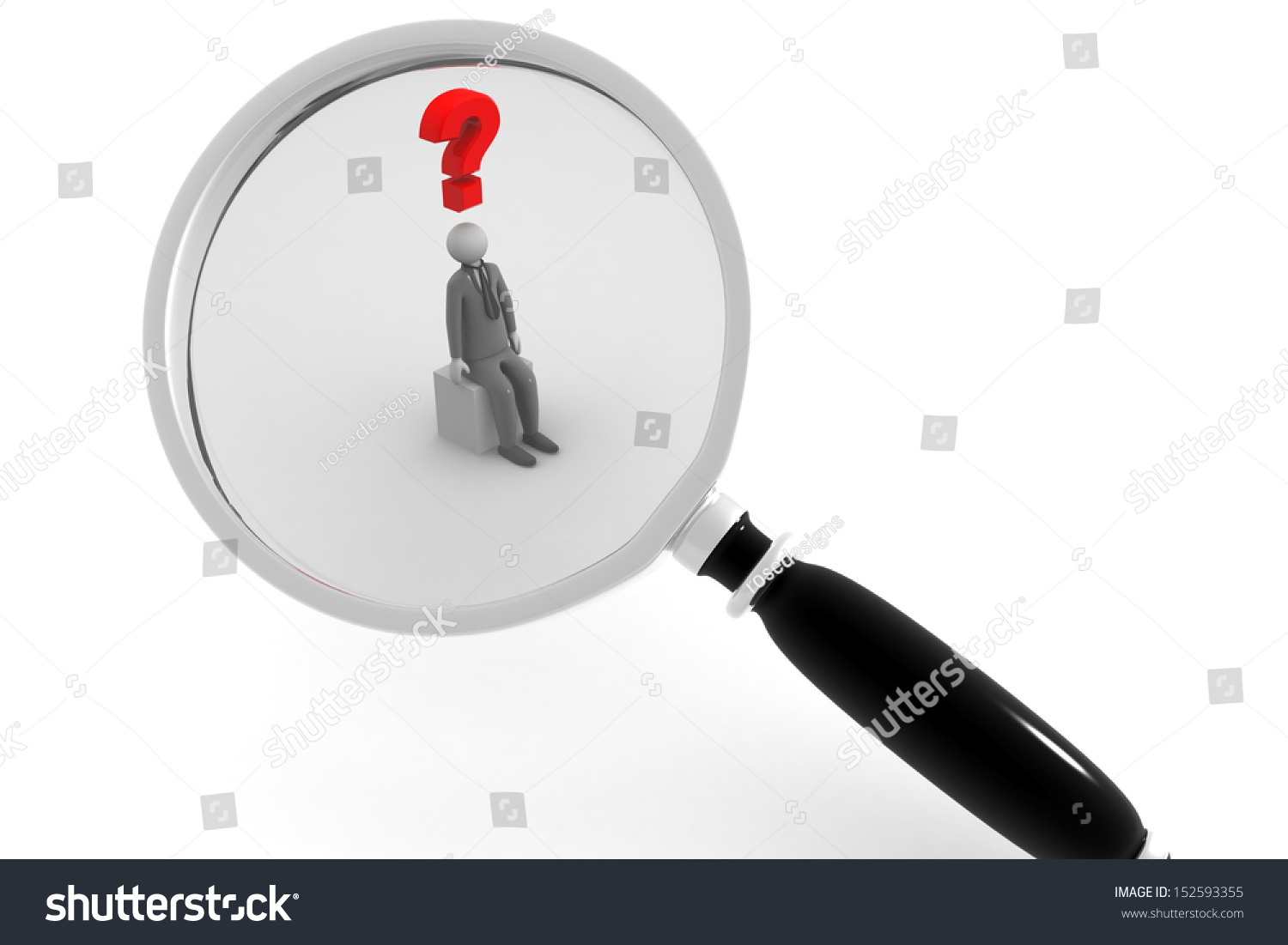 3d person with magnifying glass and question mark stock images image - Magnifying Glass Question Mark Red Search
