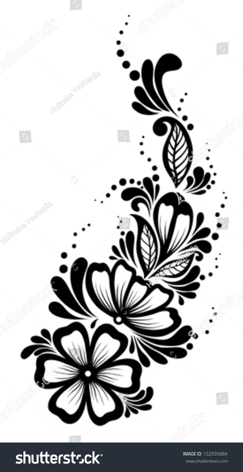 Beautiful Floral Element Blackandwhite Flowers Leaves