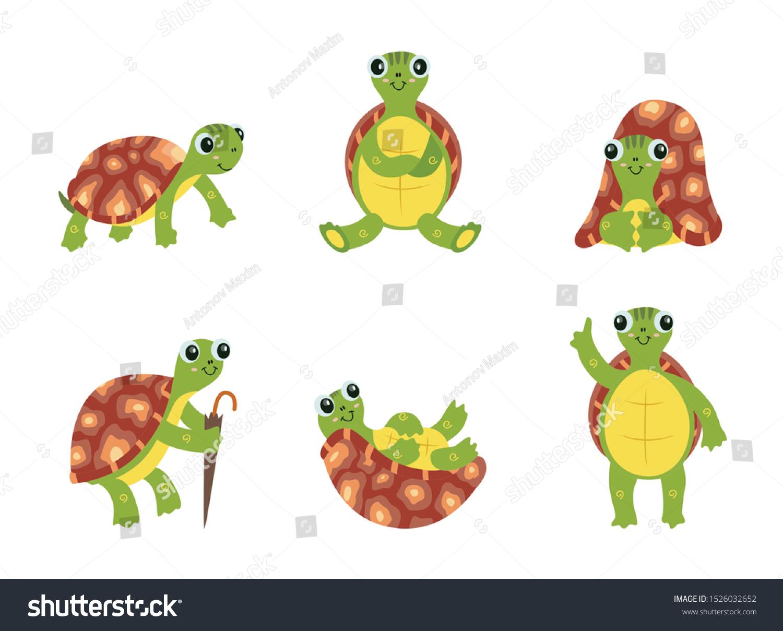 Happy Cartoon Turtle Set Cute Green Stock Vector Royalty Free