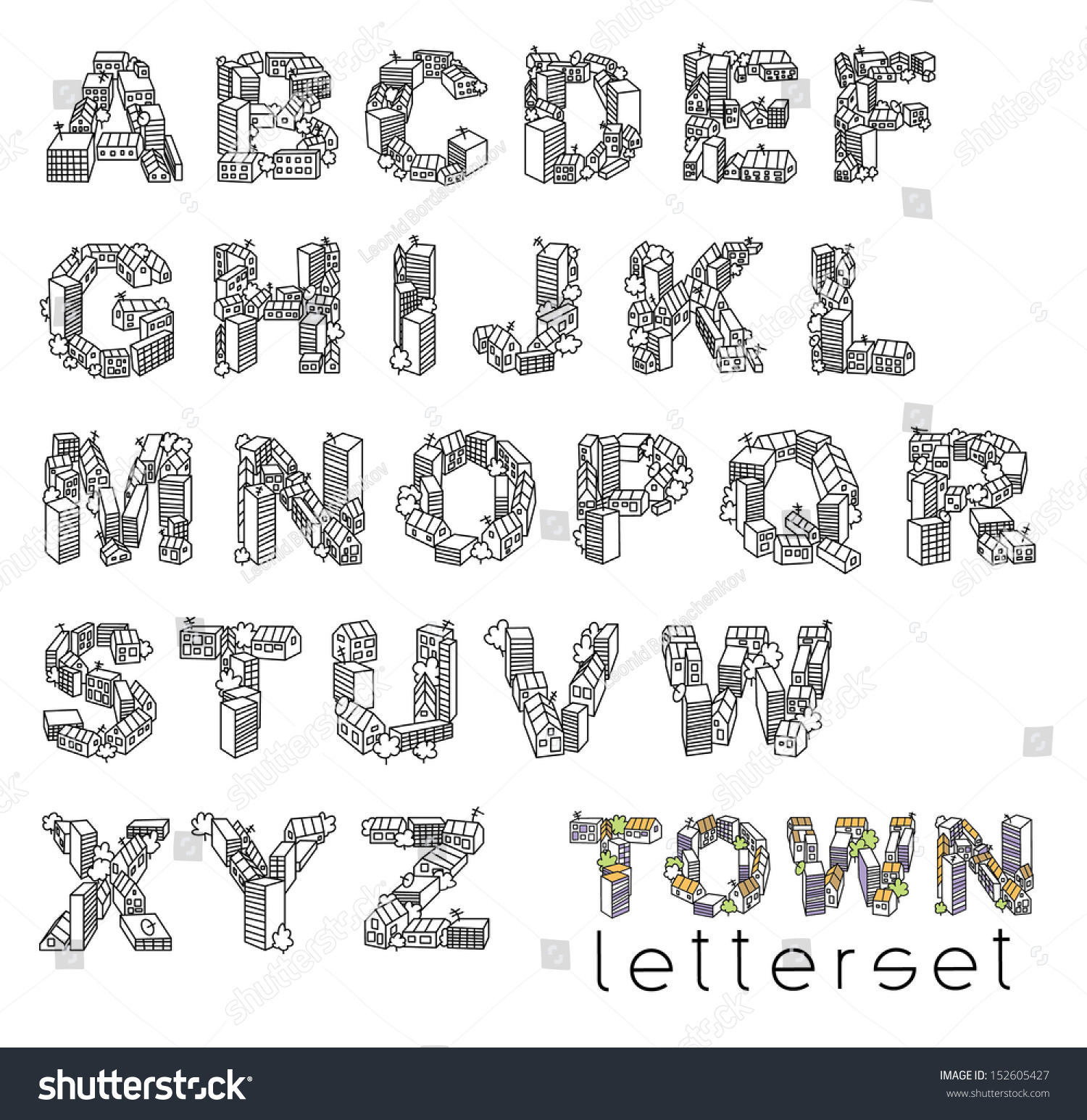 Letterset Town Letterset Set Letters Isolated Stock Vector