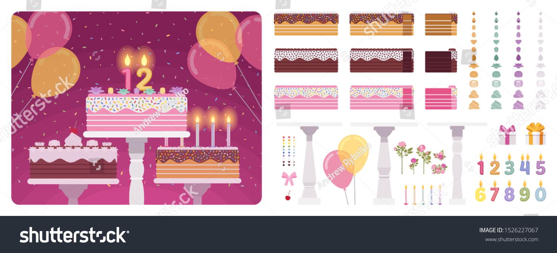 Phenomenal Birthday Cake Number Candles Cream Frosting Stock Vector Royalty Funny Birthday Cards Online Inifodamsfinfo