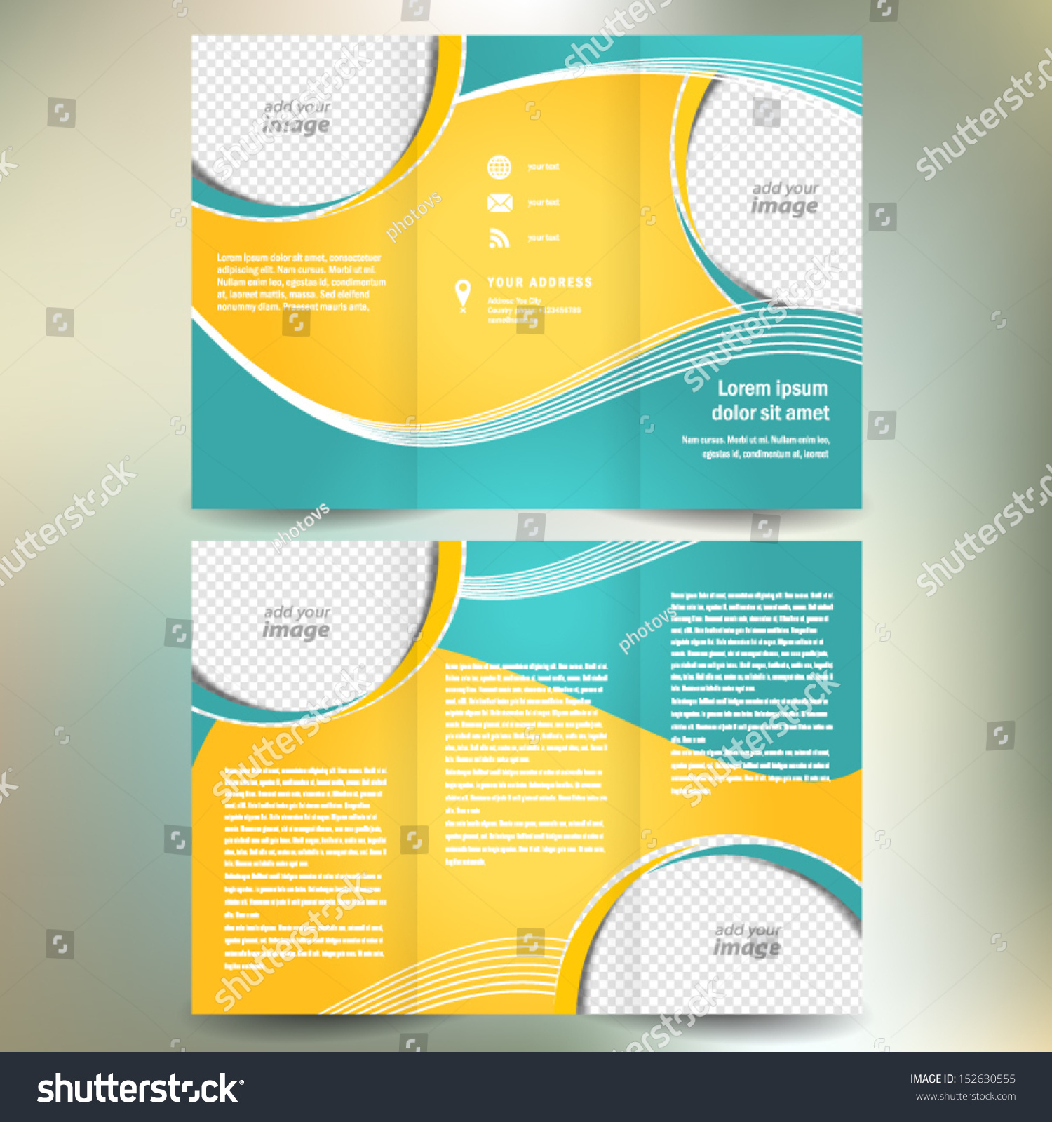 brochure folder leaflet geometric abstract element stock vector