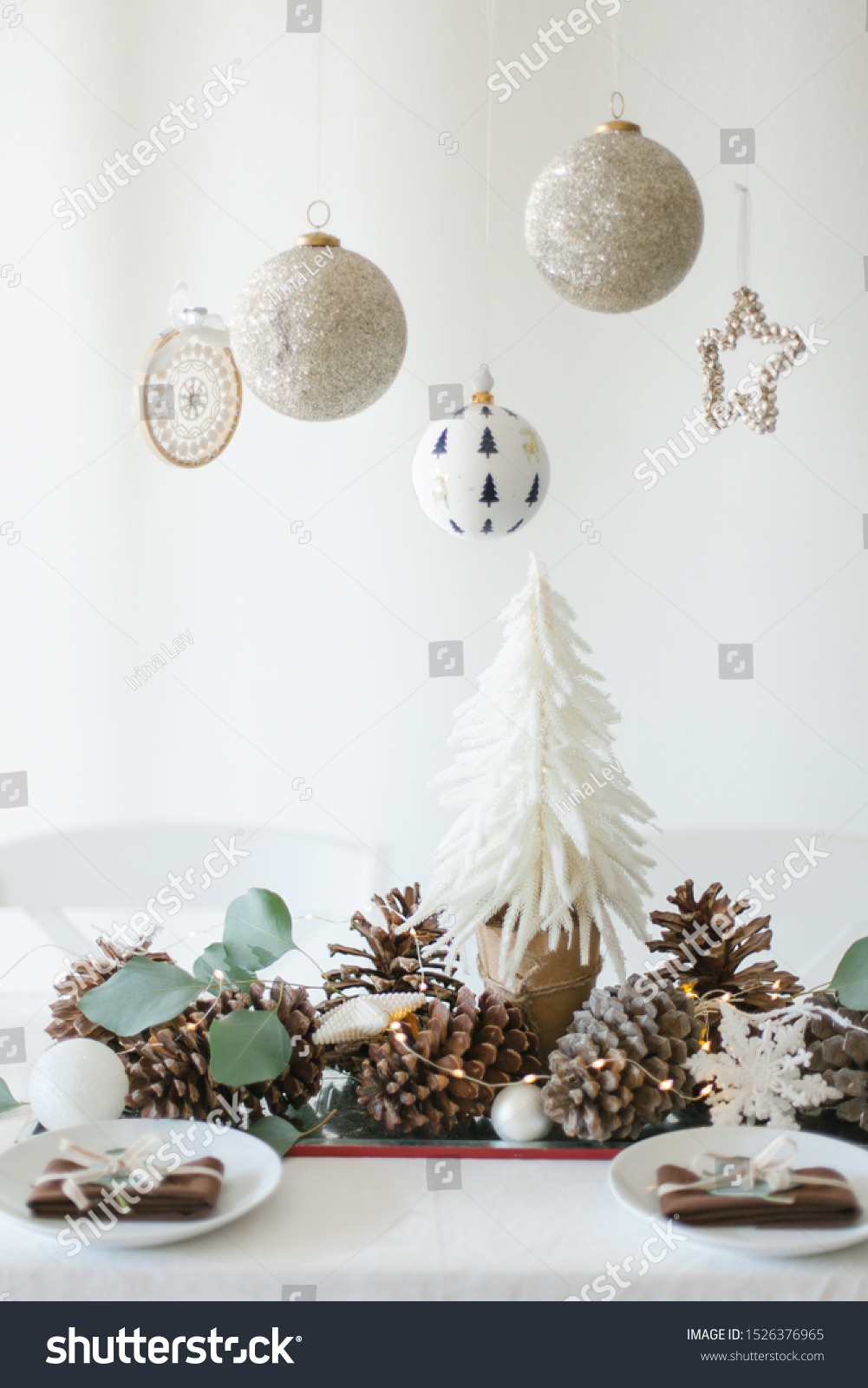 Winter Table Decoration Small Christmas Tree Stock Photo Edit Now 1526376965