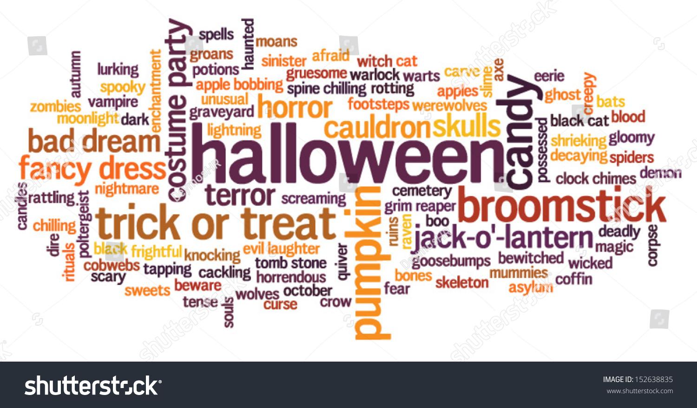 Halloween Word Cloud Vector On Whiet Stock Vector 152638835 ...