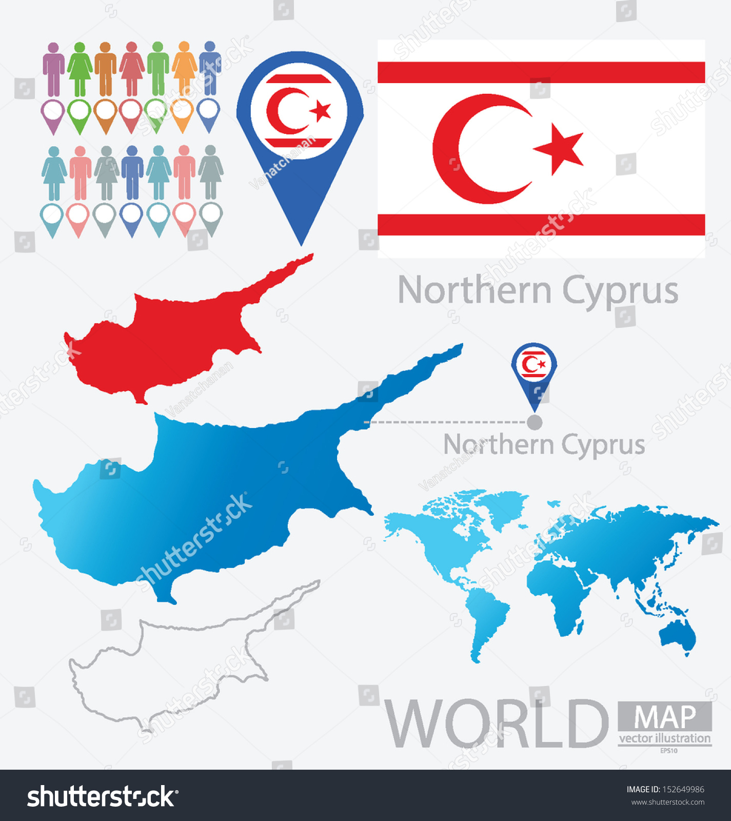 Turkish republic northern cyprus flag world stock vector royalty turkish republic of northern cyprus flag world map vector illustration gumiabroncs Images