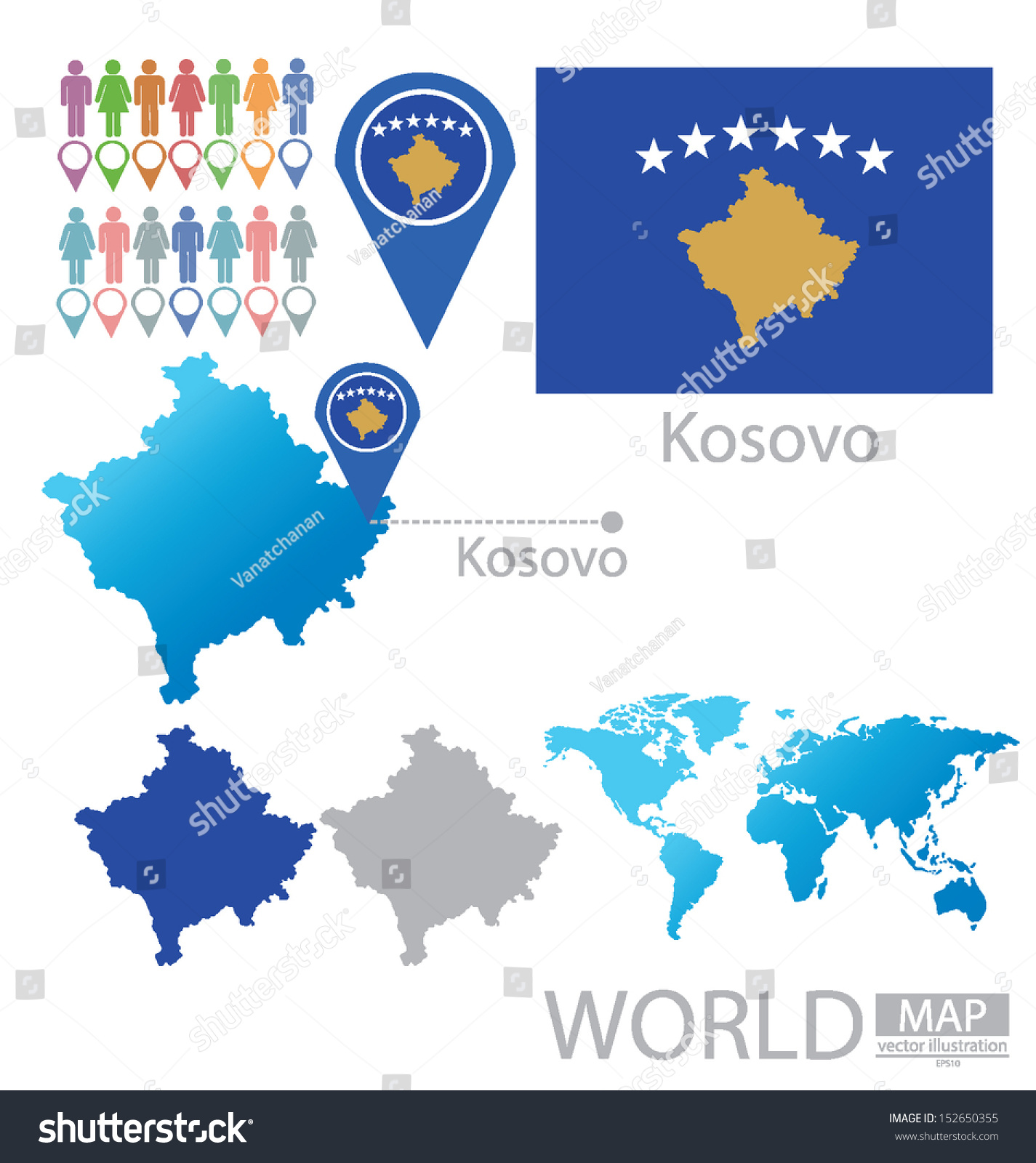 Republic kosovo flag world map vector stock vector 152650355 republic kosovo flag world map vector stock vector 152650355 shutterstock gumiabroncs Images