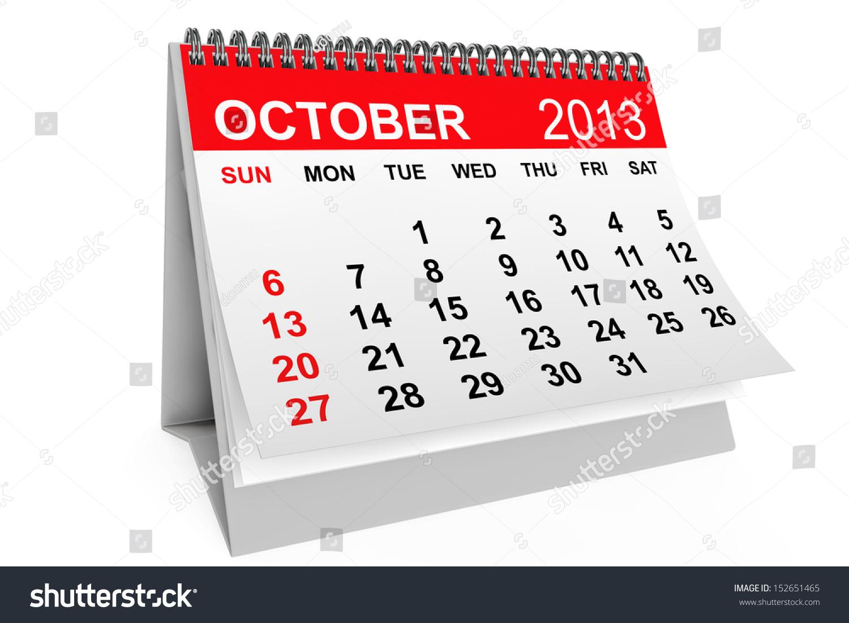 2013 year calendar october calendar on a white background ez canvas