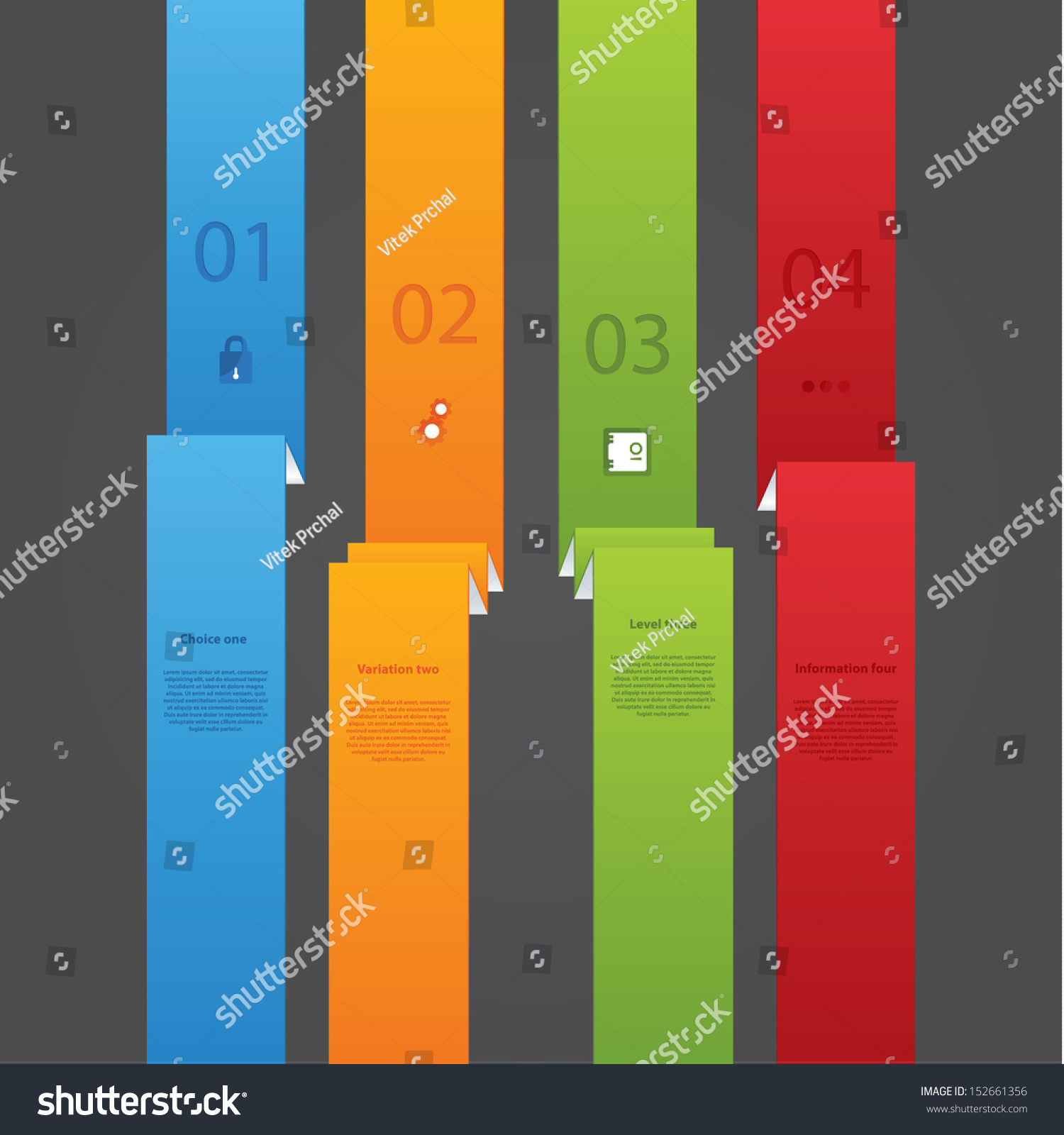 Folded Paper Strip Template Four Choices Stock Vector Royalty Free Battery Cell Diagram Editable Powerpoint With Space For Your Text And Images