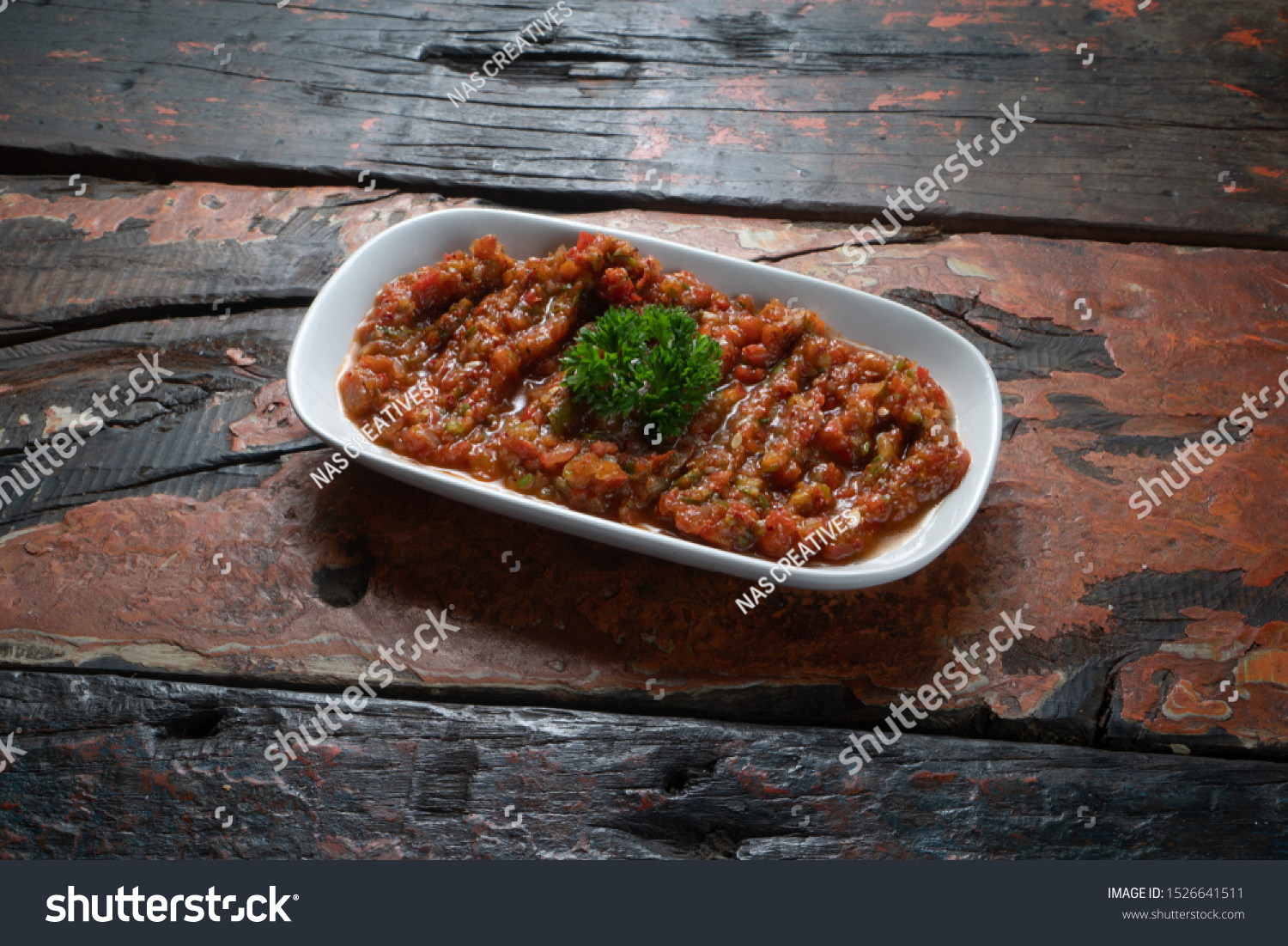 Acılı Ezme turkish meze acili ezme spicy paste stock photo (edit now