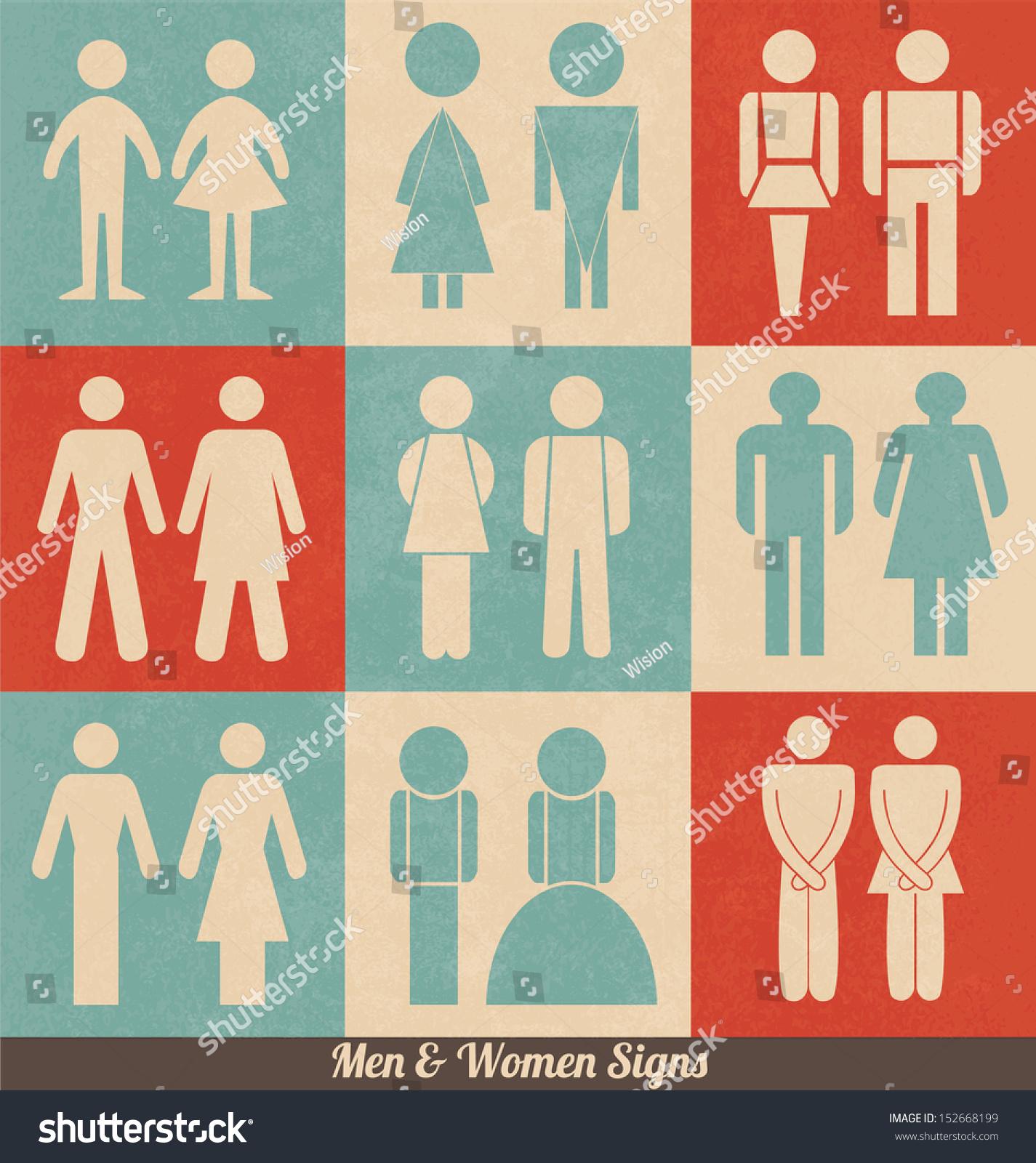 men women signs retro design wc stock vector 152668199 shutterstock. Black Bedroom Furniture Sets. Home Design Ideas