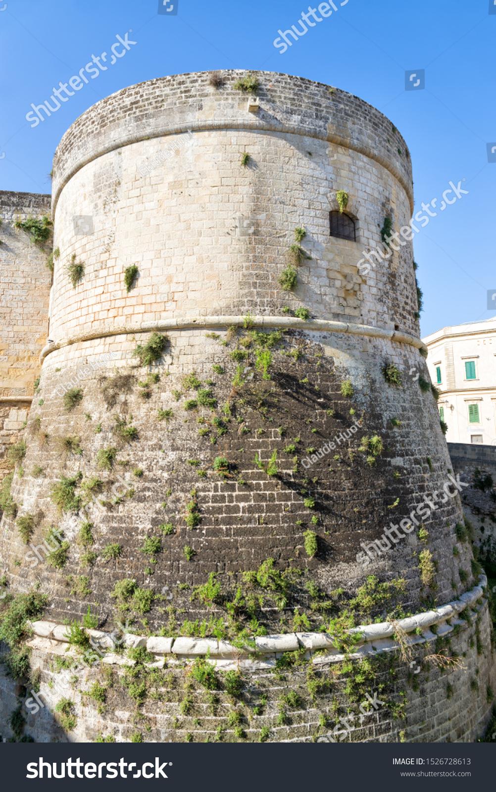 North tower of the Aragonese Castle of Otranto in Otranto, Italy