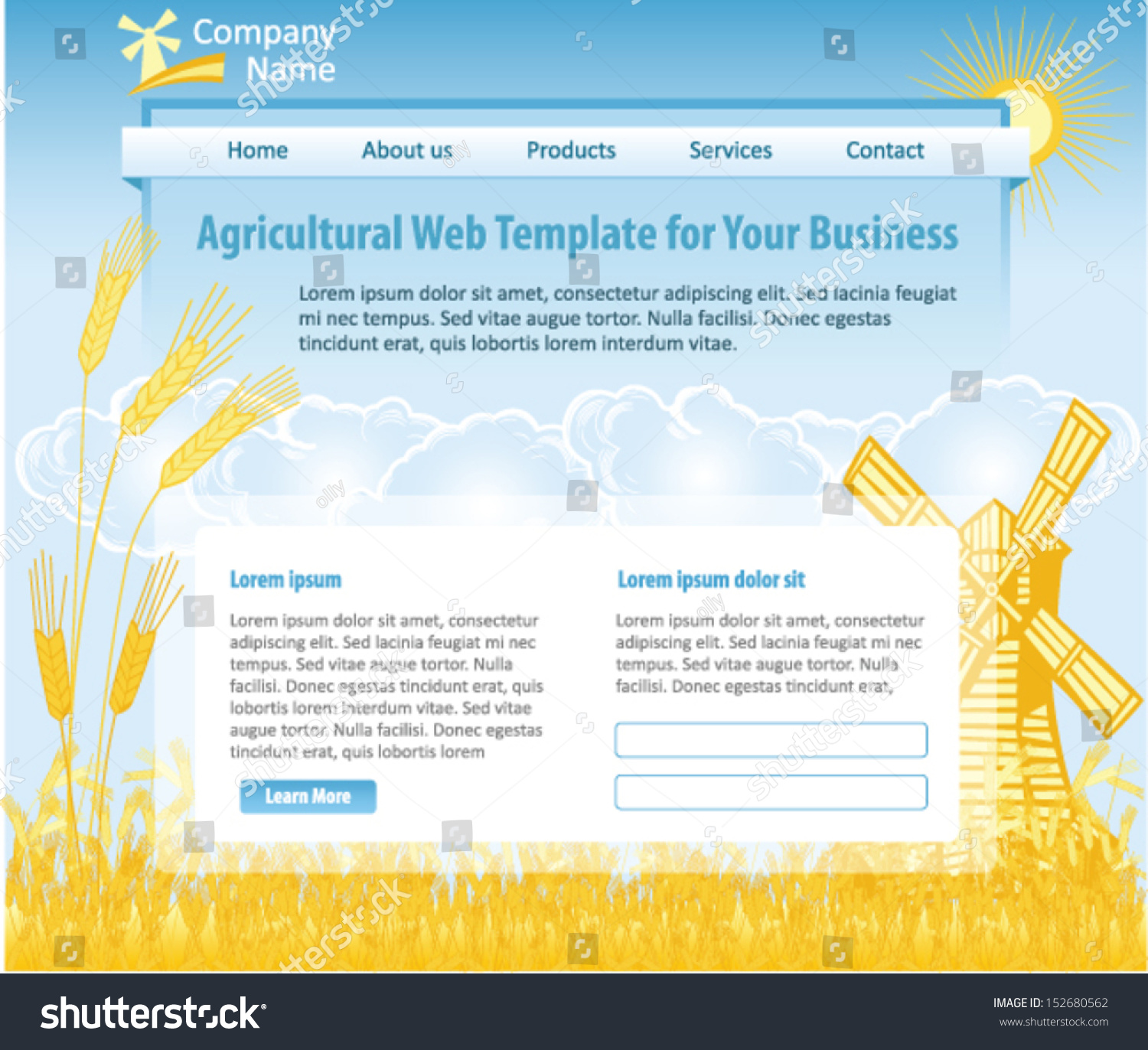 Agriculture Theme Web Design Template Vector Stock Vector 152680562 ...
