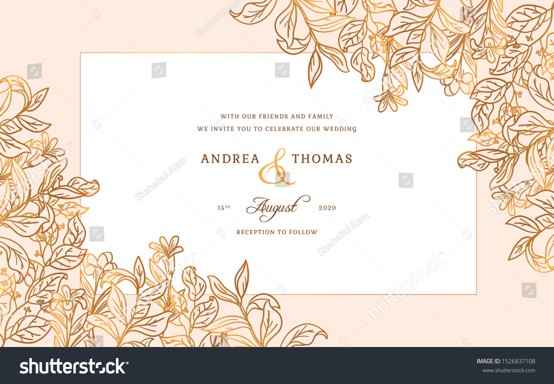 Simple Wedding Invitation Card Design Template Stock Vector (Royalty Free)  1526837108