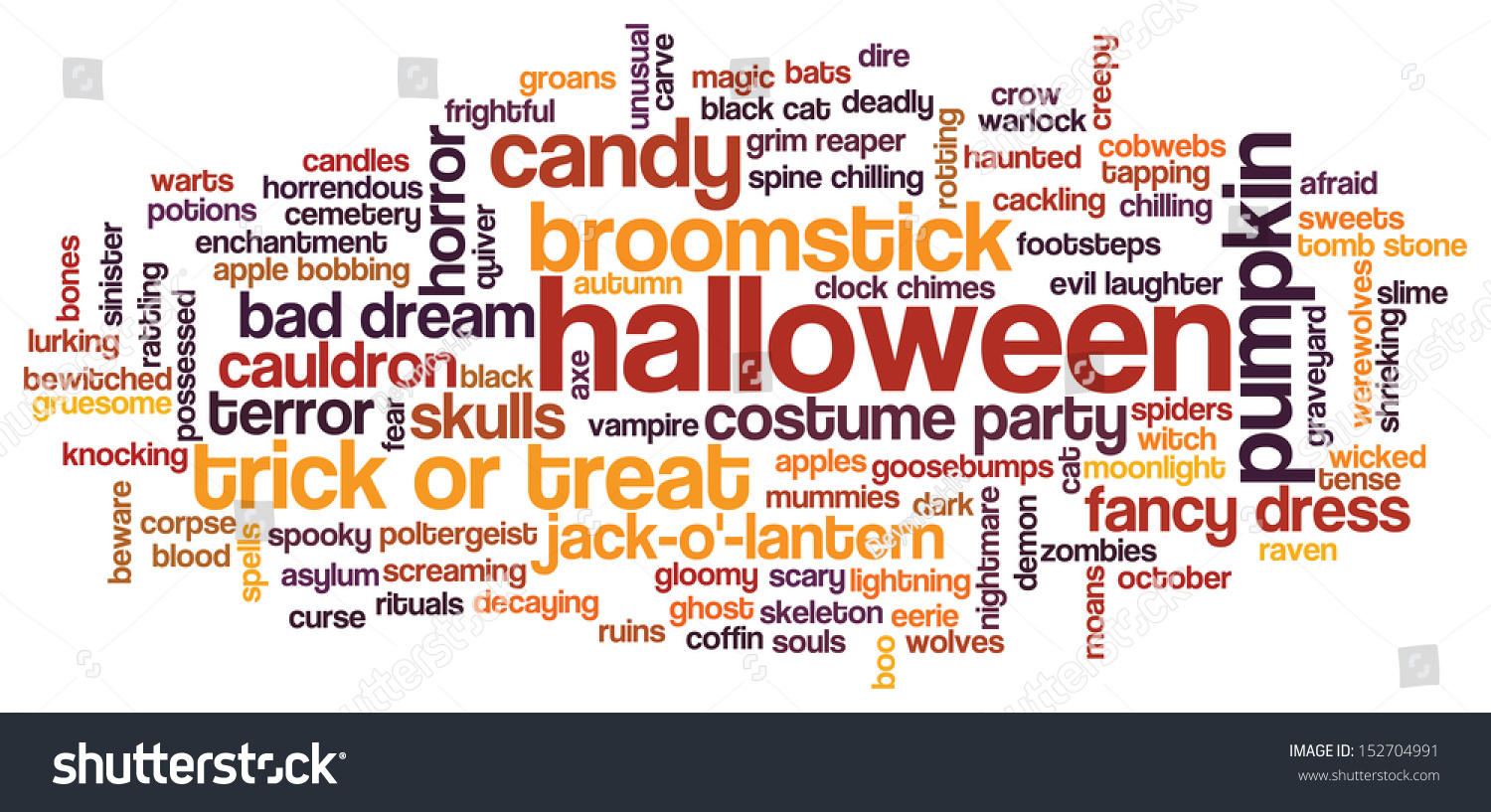 halloween word cloud illustration on white background with words related to halloween witch trick