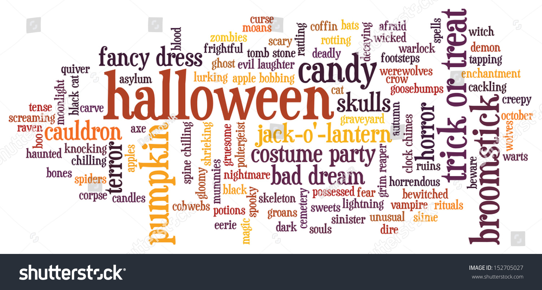 Halloween Word Cloud Illustration On White Stock Illustration ...