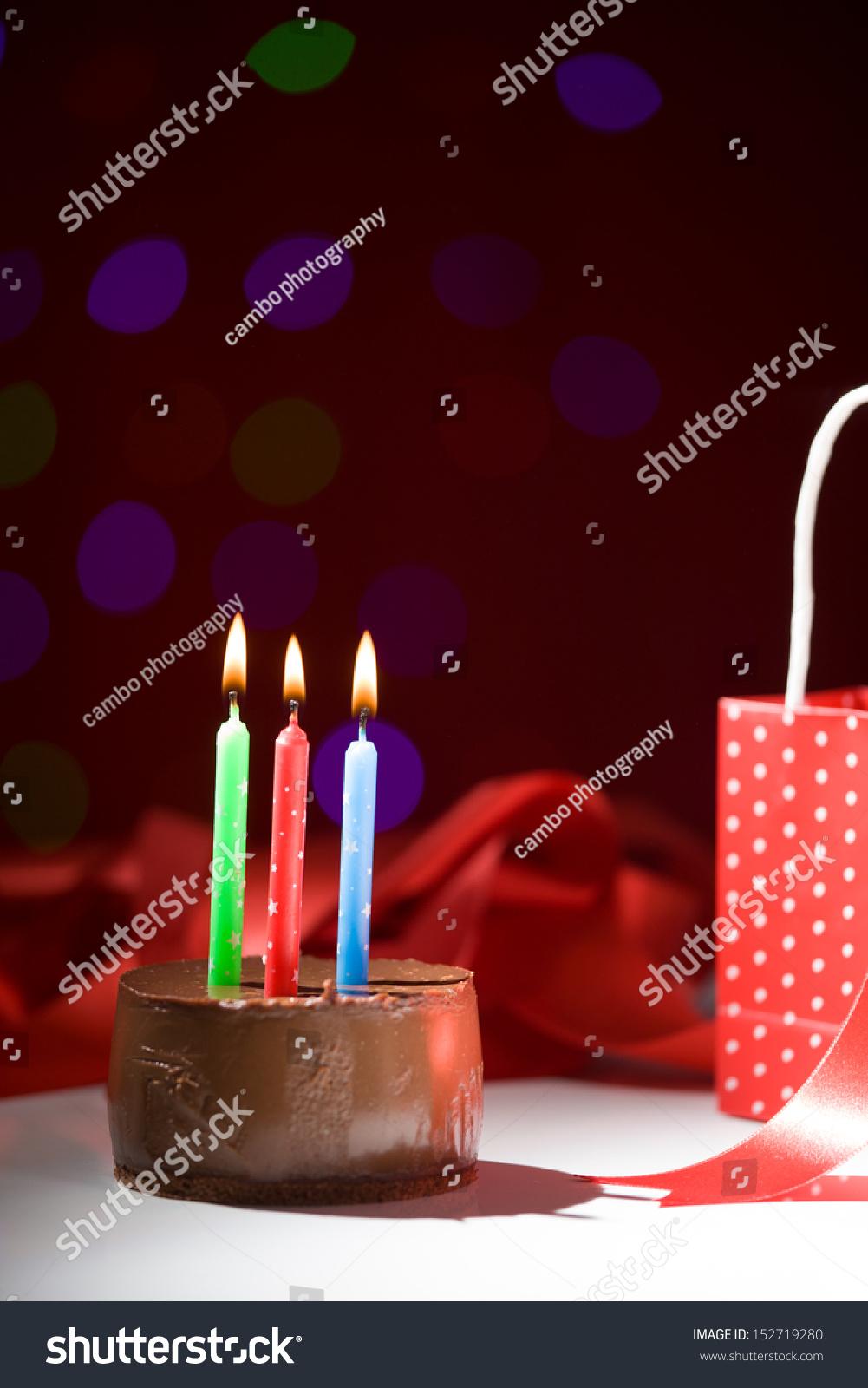 Happy Birthday Cake Shot On Red Stock Photo Royalty Free 152719280