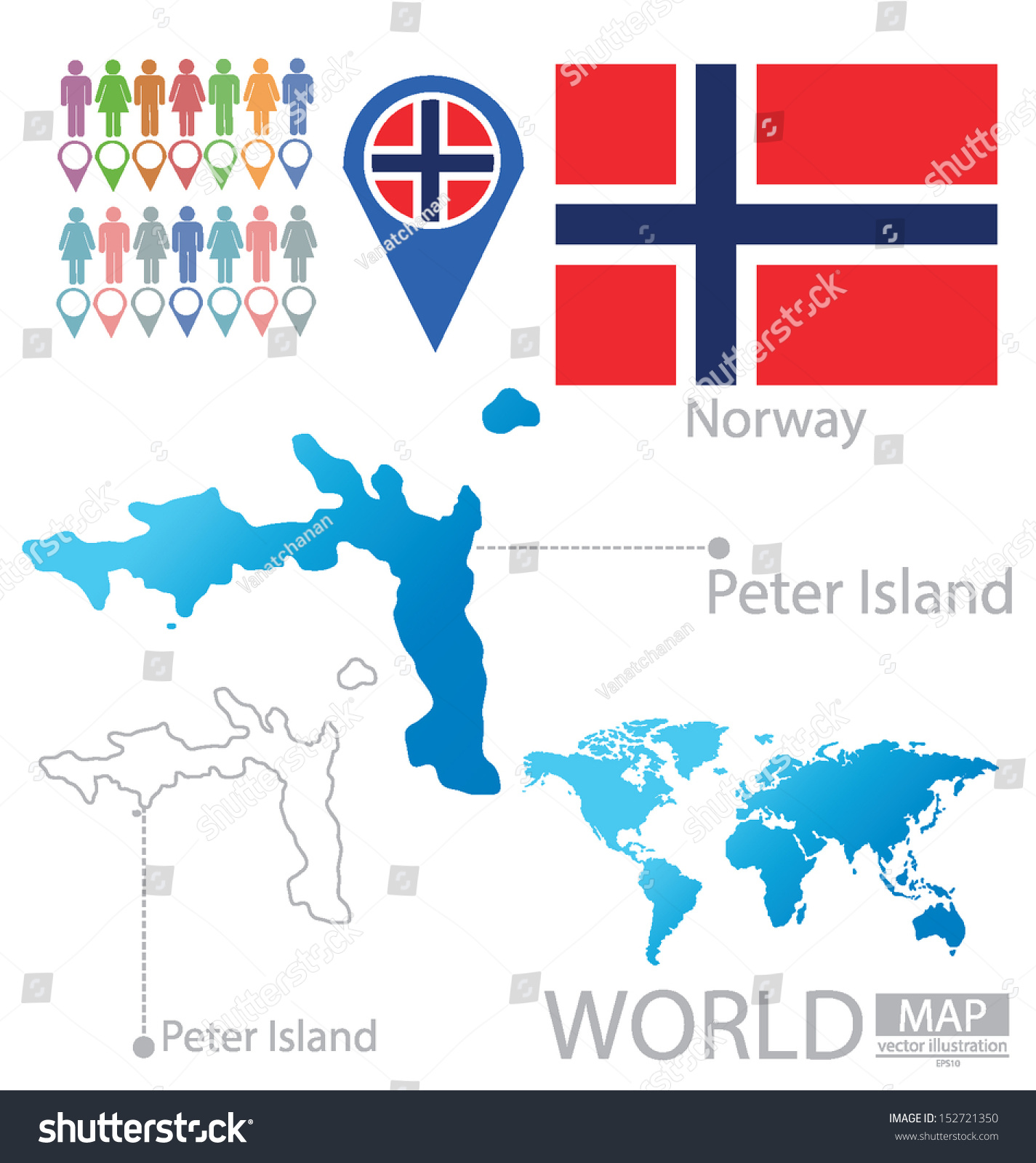 Peter Island Norway Flag World Map Stock Vector 152721350