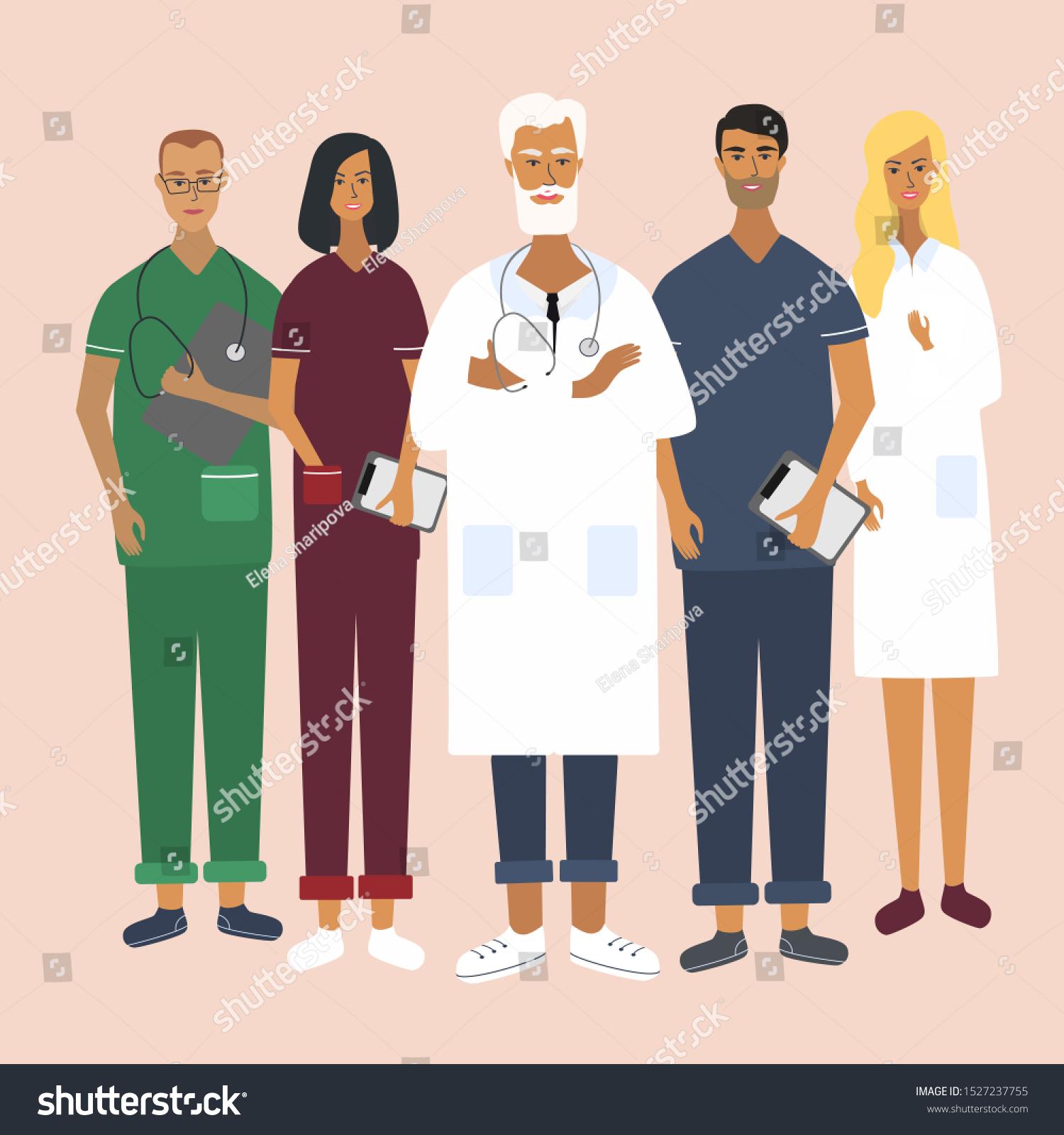 Doctors Nurses Chief Physician Team Medical Stock Vector Royalty Free 1527237755
