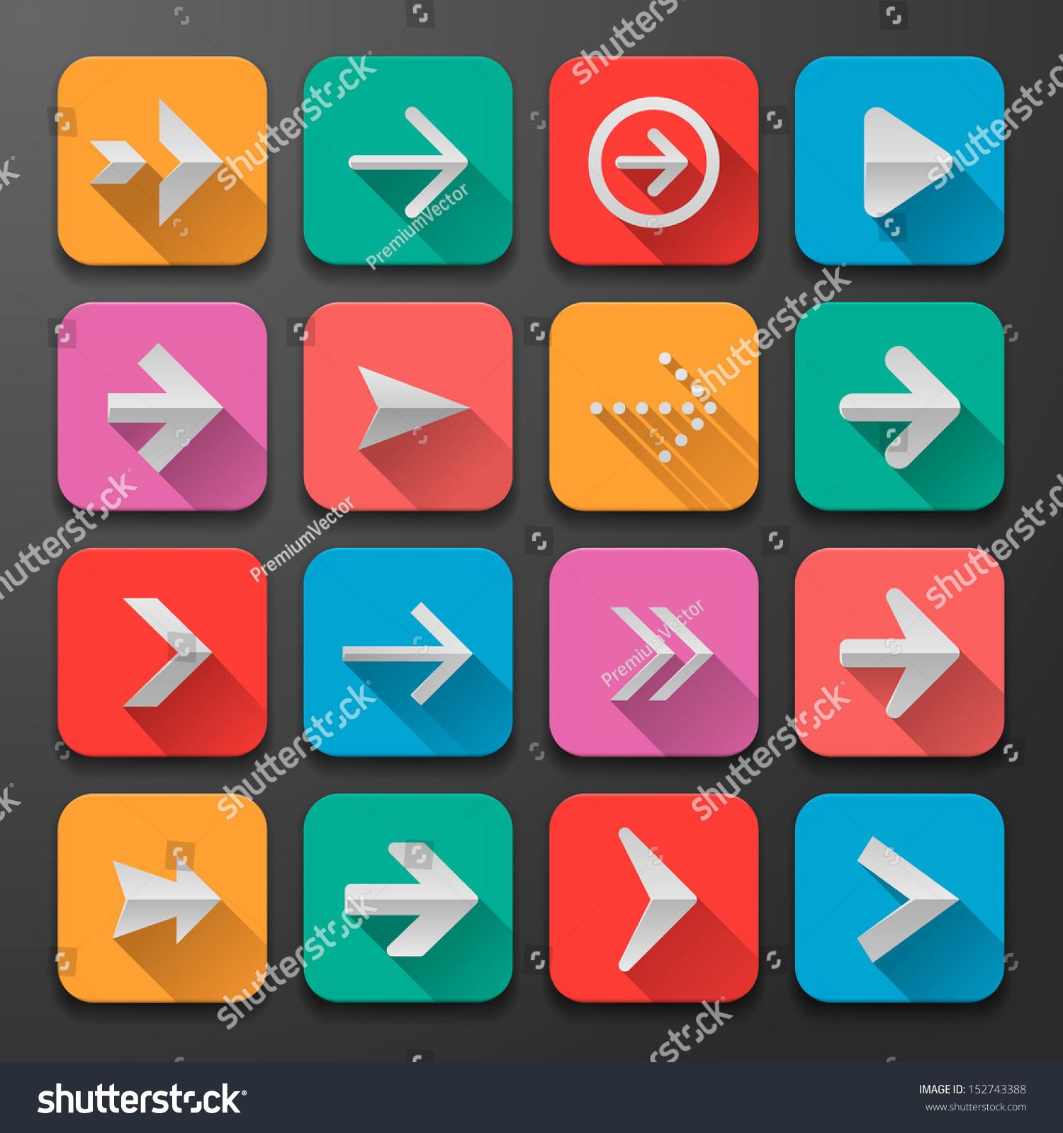 Set Arrow Icons, Flat Ui Design Trend, Vector Illustration ...