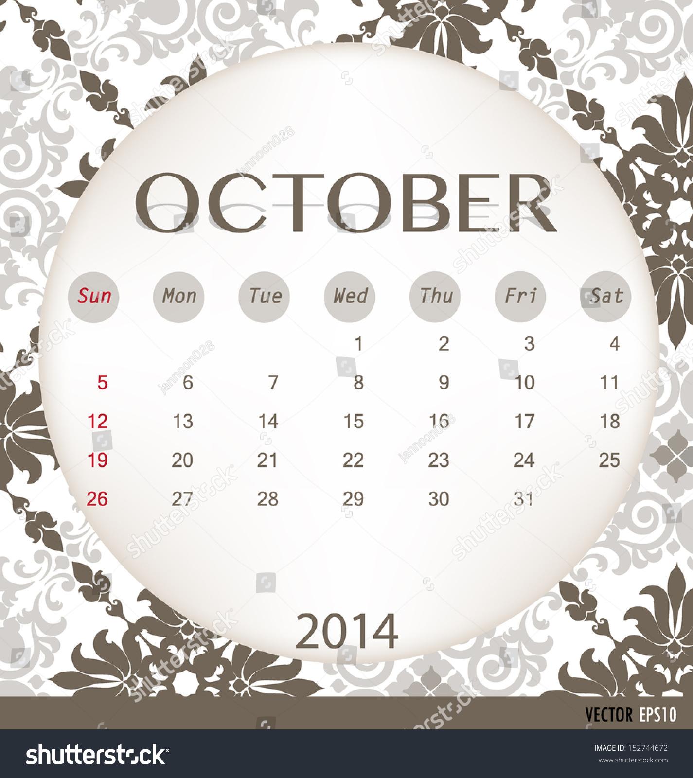 October Calendar Illustration : Calendar vintage template for october