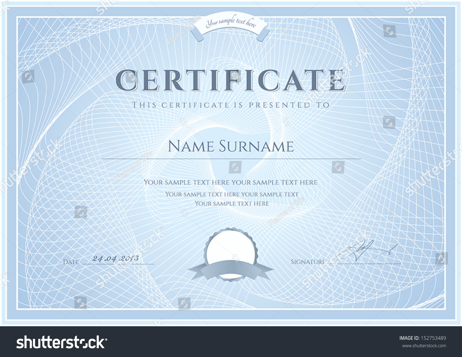 Certificate diploma completion design template background stock certificate diploma of completion design template background with guilloche pattern watermark alramifo Choice Image